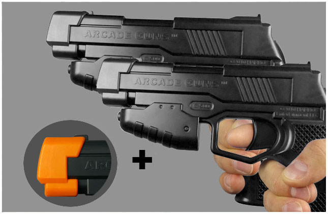 Dual Arcade Guns v2.0 Black/Black Gun Kit